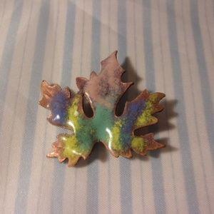 Vtg Enamel on Copper Pastel Maple Leaf Pin
